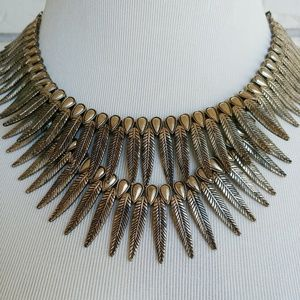 Jewelry - Feather Collar Necklace 2 Tier Boho Chic Bronze